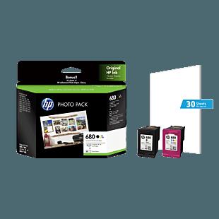 HP 680 2-pack Black/tri-color Original Ink cartridges+30 sheet Photo Paper