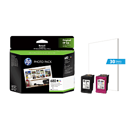 HP 680 2-pack Black/tri-color Original Ink cartridges+30 sheet Photo Paper