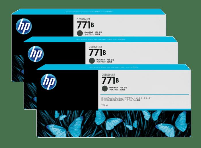 HP 771B 3-pack 775-ml Matte Black DesignJet Ink Cartridges