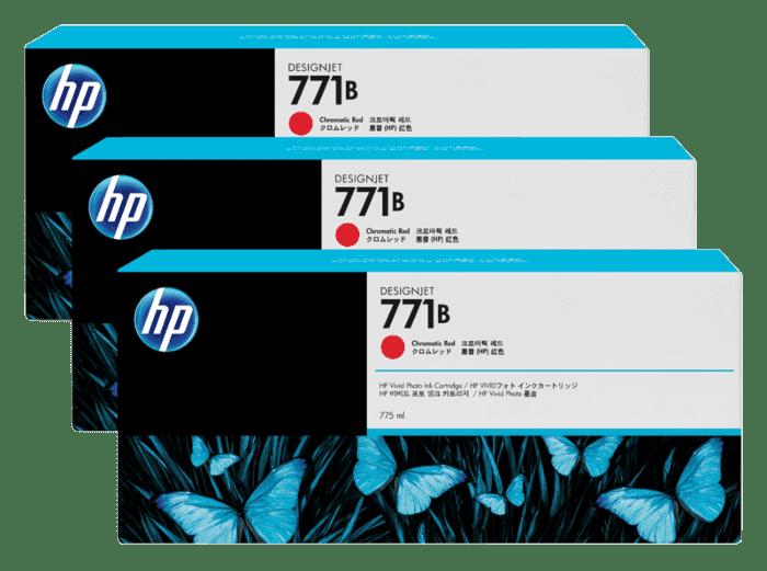 HP 771B 3-pack 775-ml Chromatic Red DesignJet Ink Cartridges