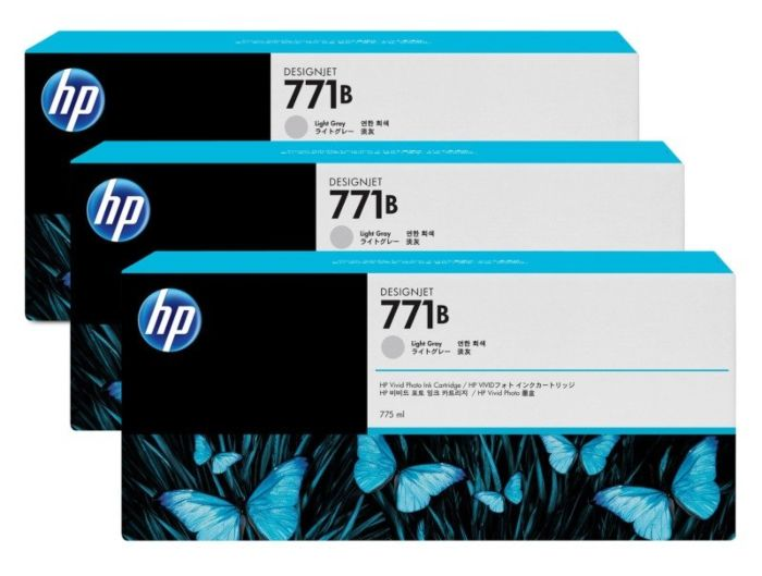 HP 771B 3-pack 775-ml Light Gray DesignJet Ink Cartridges
