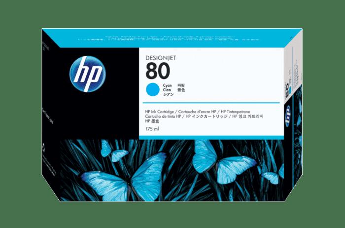 HP 80 175-ml Cyan DesignJet Ink Cartridge