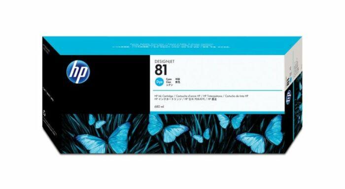 HP 81 680-ml Cyan DesignJet Dye Ink Cartridge