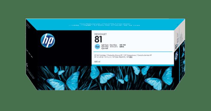 HP 81 680-ml Light Cyan DesignJet Dye Ink Cartridge