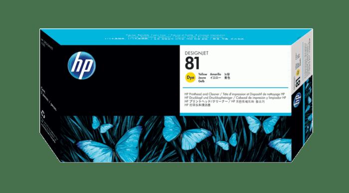 HP 81 Yellow DesignJet Dye Printhead and Printhead Cleaner
