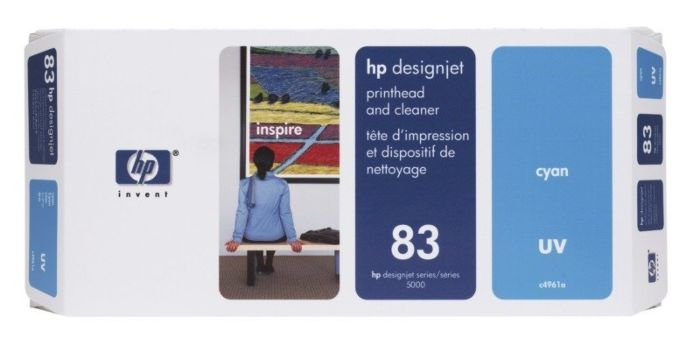 HP 83 Cyan DesignJet UV Printhead and Printhead Cleaner