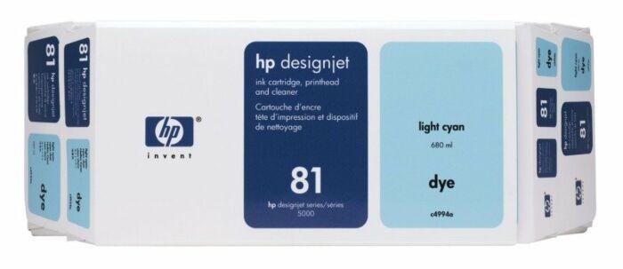 HP 81 Value Pack 680-ml Light Cyan DesignJet Dye Ink Cartridge and Printhead
