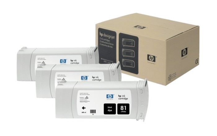 HP 81 3-pack 680-ml Black DesignJet Dye Ink Cartridges