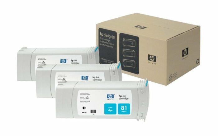 HP 81 3-pack 680-ml Cyan DesignJet Dye Ink Cartridges
