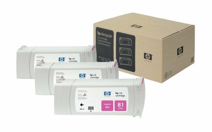 HP 81 3-pack 680-ml Magenta DesignJet Dye Ink Cartridges