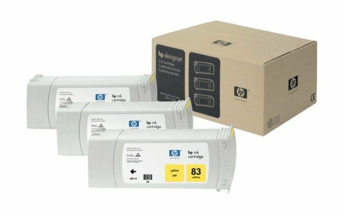 HP 83 3-pack 680-ml Yellow DesignJet UV Ink Cartridges