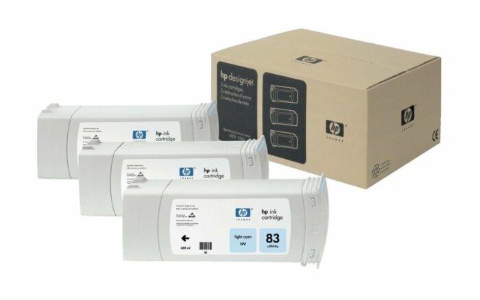 HP 83 3-pack 680-ml Light Cyan DesignJet UV Ink Cartridges
