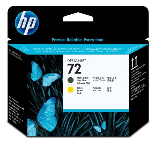 HP 72 Matte Black and Yellow DesignJet Printhead
