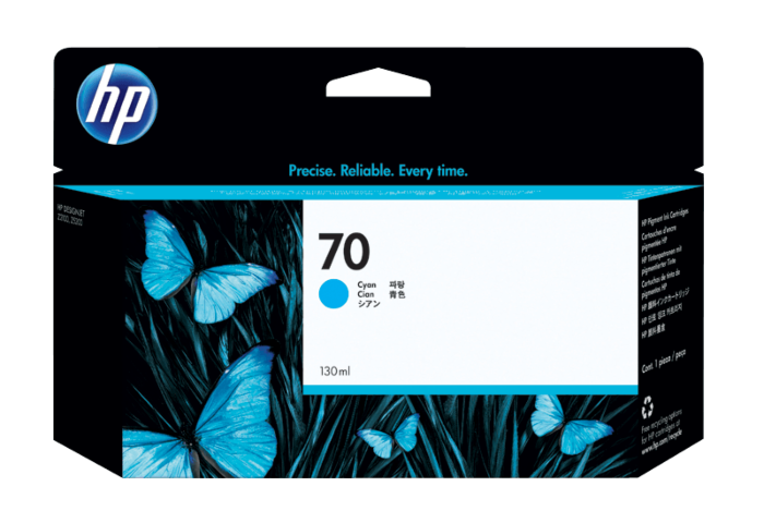 HP 70 130-ml Cyan DesignJet Ink Cartridge