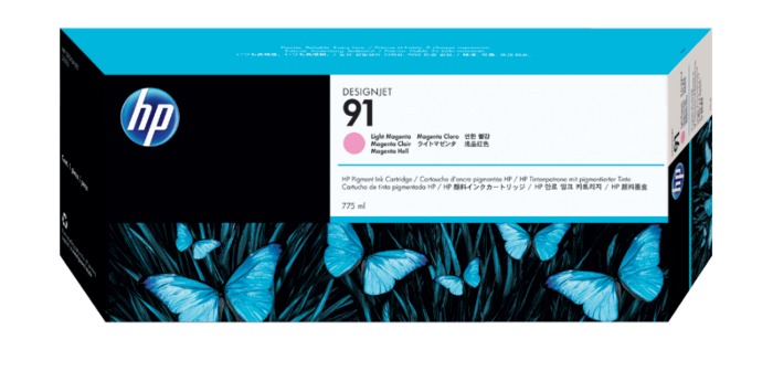 HP 91 775-ml Light Magenta DesignJet Pigment Ink Cartridge