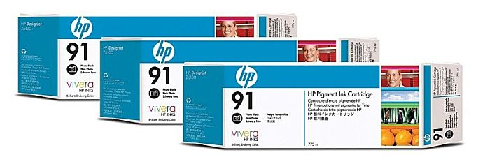 HP 91 3-pack 775-ml Photo Black DesignJet Pigment Ink Cartridges