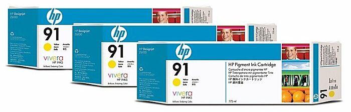 HP 91 3-pack 775-ml Yellow DesignJet Pigment Ink Cartridges