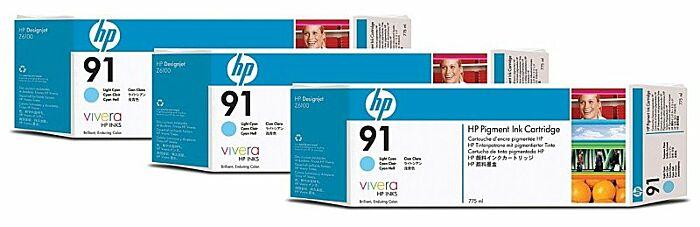 HP 91 3-pack 775-ml Light Cyan DesignJet Pigment Ink Cartridges