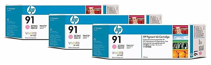 HP 91 3-pack 775-ml Light Magenta DesignJet Pigment Ink Cartridges