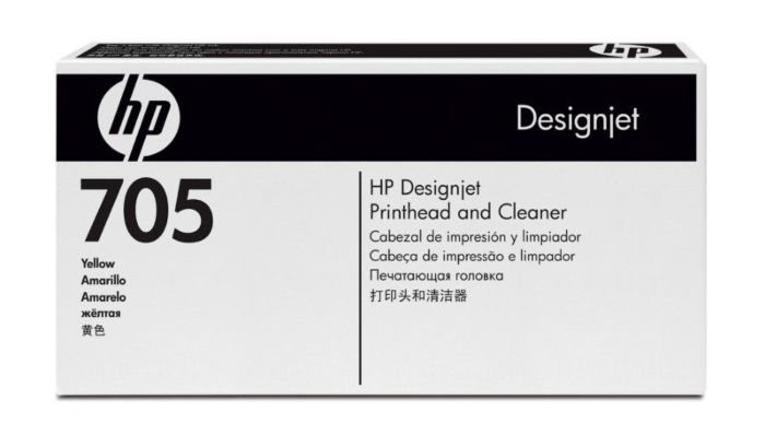 HP 705 Yellow DesignJet Printhead and Printhead Cleaner