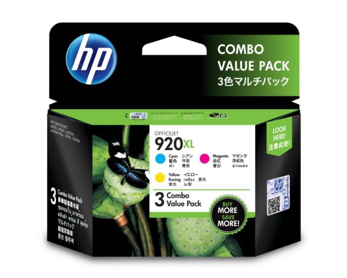 HP 920XL 3-pack High Yield Cyan/Magenta/Yellow Original Ink Cartridges