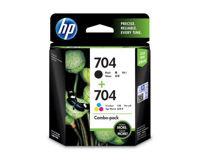 HP 704 2-pack Black/Tri-color Original Ink Advantage Cartridges