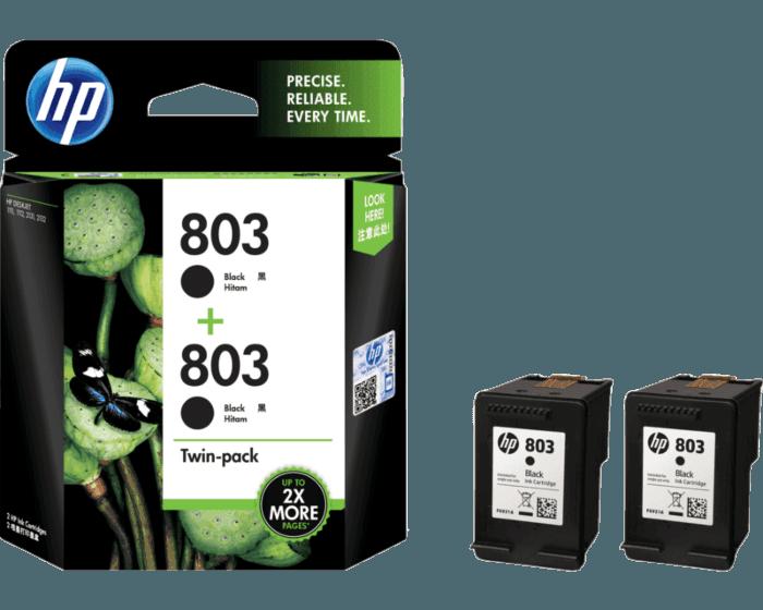 HP 803 2-pack Black Original Ink Cartridges